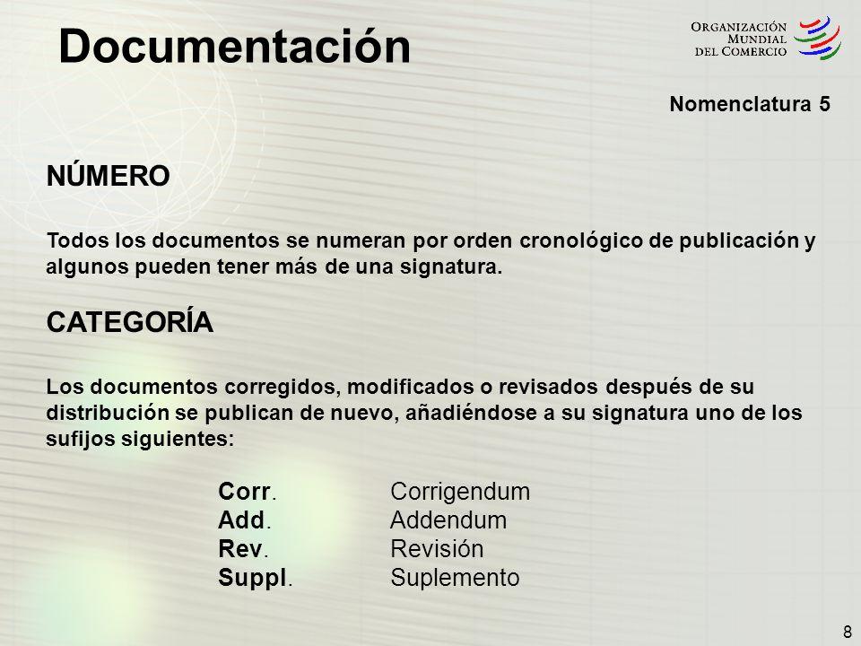 Documentación 9 ColecciónSerieTipoNúmero de documento Categoría G/SG/81GSG81 S/L/274SL274 TN/TF/W/135TNTFW135 WT/DSB/M/213WTDSBM213 IP/C/W/472IPCW472 G/IT/1/Rev.37GIT1Rev.1 G/SECRET/20/Add.3/Corr.1GSECRET20 Add.3Corr.1 Ejemplos de signaturas habituales: Nomenclatura 6