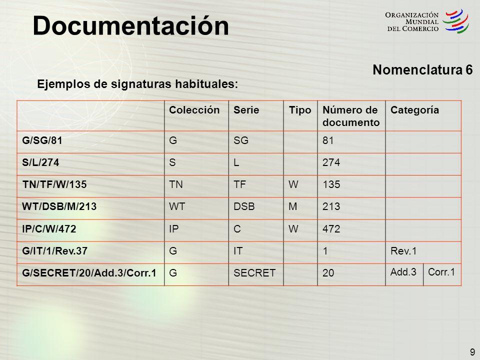 Documentación 10 Diferentes tipos de signaturas - algunas signaturas difieren ligeramente del modelo uniforme: NOTIFICACIONES Las notificaciones y algunas otras series de documentos contienen también códigos de países de la ISO y, a veces, números que permiten diferenciar los tipos de notificaciones: ColecciónSerieTipoCódigo de la ISO Número de documento Categoría S/C/N/371 WT/REG216/N/1 SCN371 G/TBT/N/ARM/35GTBTNARM35 G/ADP/N/139/ISR/Rev.1GADPN139 ISR G/SPS/N/USA/1239/Add.1/Corr.1GSPSNUSA1239Add.3Corr.1 G/LIC/Q/IDN/8GLICQIDN8 Nomenclatura 7