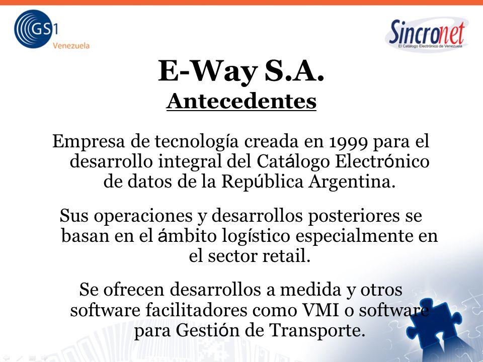 E-Way S.A. Antecedentes Empresa de tecnolog í a creada en 1999 para el desarrollo integral del Cat á logo Electr ó nico de datos de la Rep ú blica Arg