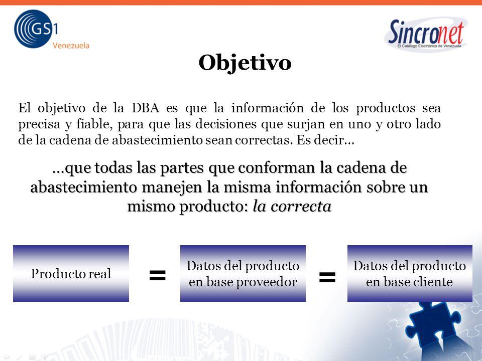 Datos del producto en base cliente = Datos del producto en base proveedor = Objetivo El objetivo de la DBA es que la información de los productos sea