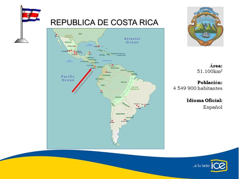 Á rea: 51.100km 2 Poblaci ó n: 4 549 900 habitantes Idioma Oficial: Español REPUBLICA DE COSTA RICA