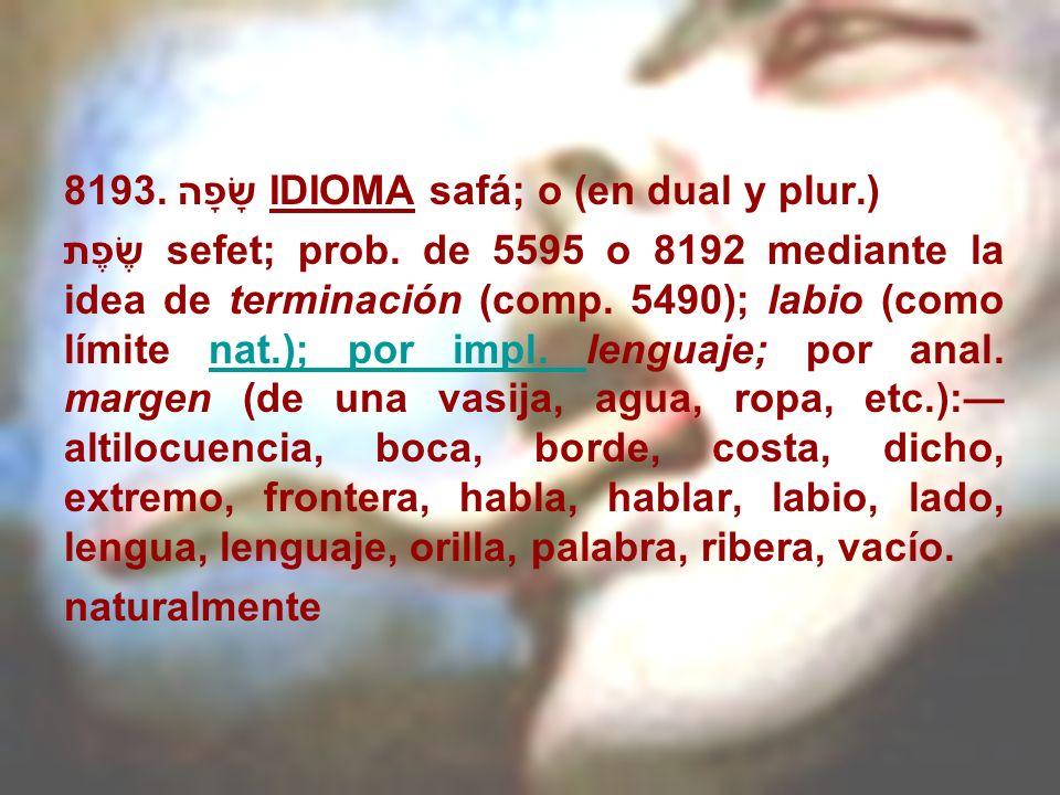 8193. שָׂפָה IDIOMA safá; o (en dual y plur.) שֶׂפֶת sefet; prob. de 5595 o 8192 mediante la idea de terminación (comp. 5490); labio (como límite nat.