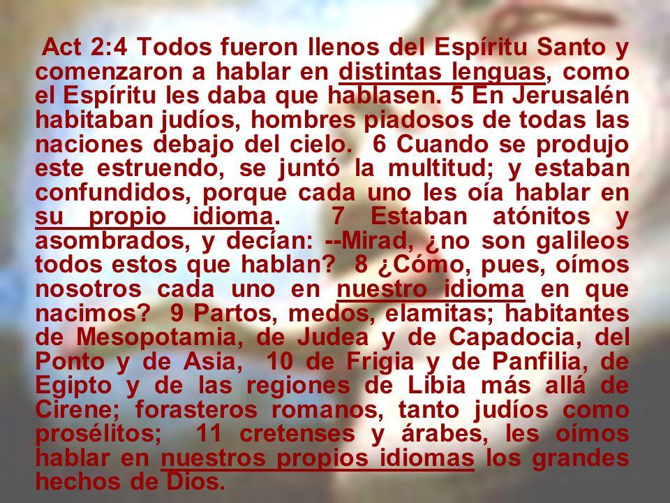 Act 2:4 Todos fueron llenos del Espíritu Santo y comenzaron a hablar en distintas lenguas, como el Espíritu les daba que hablasen. 5 En Jerusalén habi