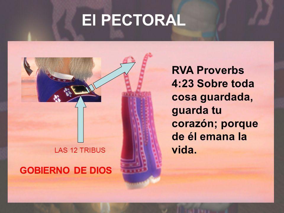 El PECTORAL LAS 12 TRIBUS RVA Proverbs 4:23 Sobre toda cosa guardada, guarda tu corazón; porque de él emana la vida. GOBIERNO DE DIOS