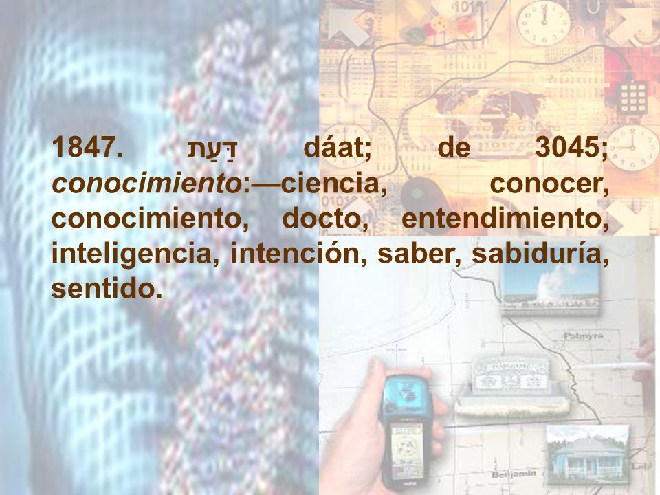 1847. דַּעַת dáat; de 3045; conocimiento:ciencia, conocer, conocimiento, docto, entendimiento, inteligencia, intención, saber, sabiduría, sentido.