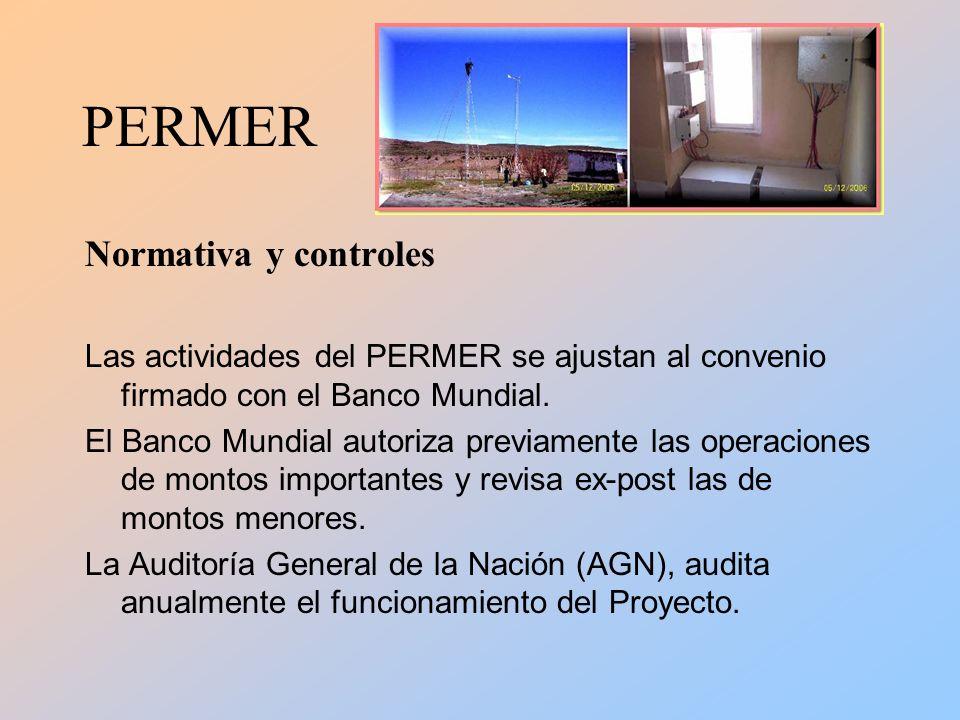 PERMER Normativa y controles Las actividades del PERMER se ajustan al convenio firmado con el Banco Mundial.