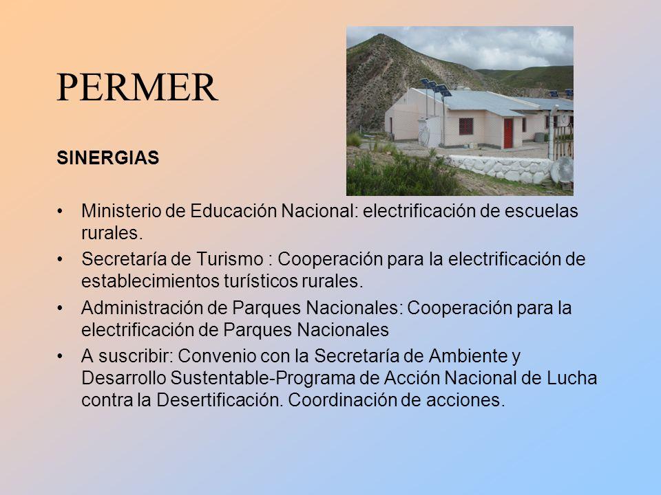 PERMER SINERGIAS Ministerio de Educación Nacional: electrificación de escuelas rurales.