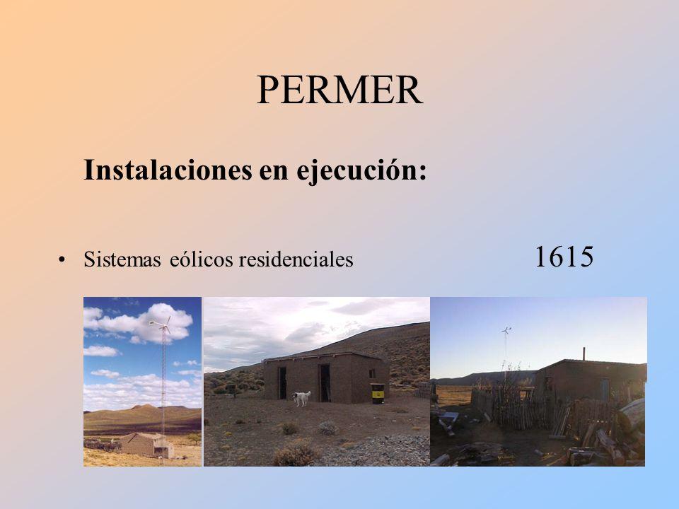 PERMER Instalaciones en ejecución: Sistemas eólicos residenciales 1615