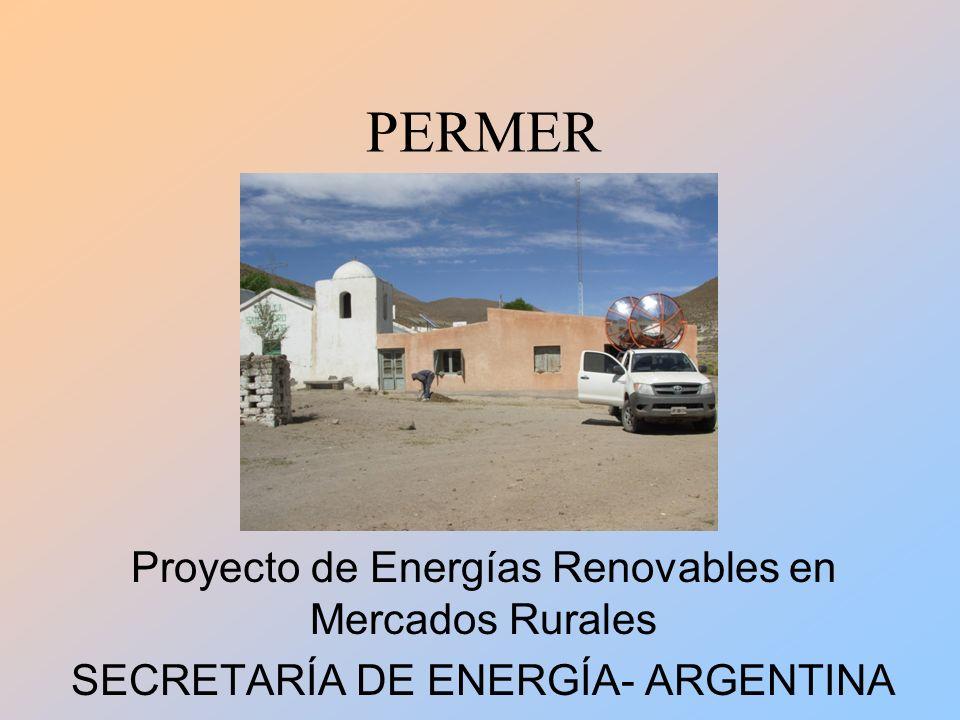 PERMER Instalaciones concretadas: Sistemas solares residenciales 4360 Sistemas solares en escuelas 1365 Sistemas solares en Servicios Públicos 112 Cocinas, hornos, y calefones solares 101 Miniredes (sistemas colectivos) 20