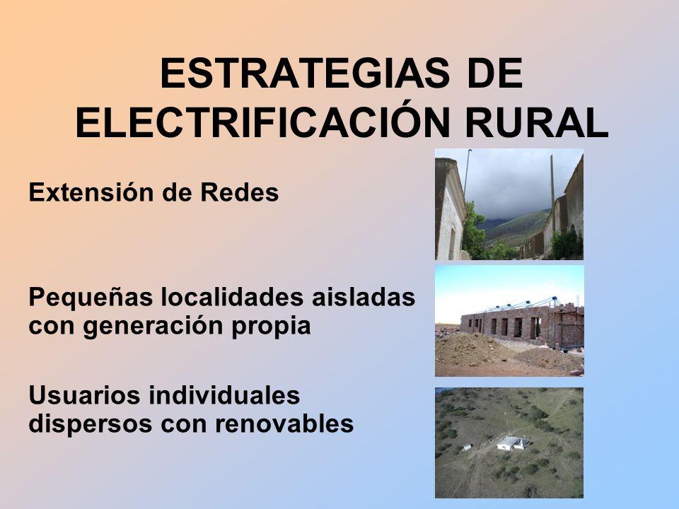 Extensión de Redes Pequeñas localidades aisladas con generación propia Usuarios individuales dispersos con renovables ESTRATEGIAS DE ELECTRIFICACIÓN RURAL