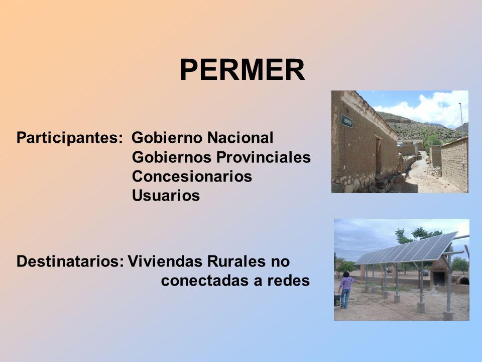 Participantes: Gobierno Nacional Gobiernos Provinciales Concesionarios Usuarios Destinatarios: Viviendas Rurales no conectadas a redes PERMER
