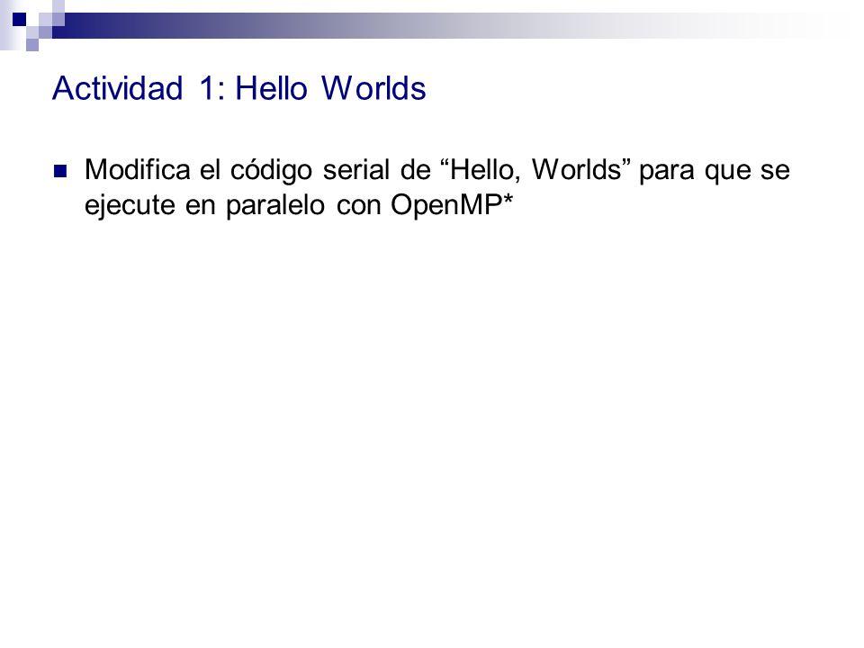 Actividad 1: Hello Worlds Modifica el código serial de Hello, Worlds para que se ejecute en paralelo con OpenMP*