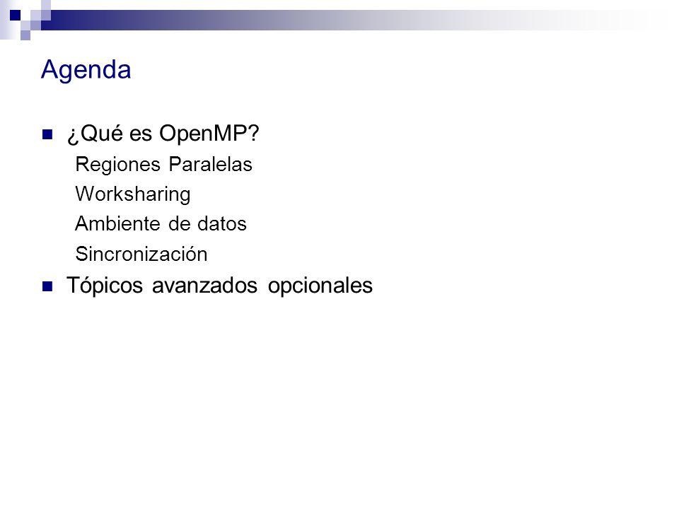 Agenda ¿Qué es OpenMP? Regiones Paralelas Worksharing Ambiente de datos Sincronización Tópicos avanzados opcionales