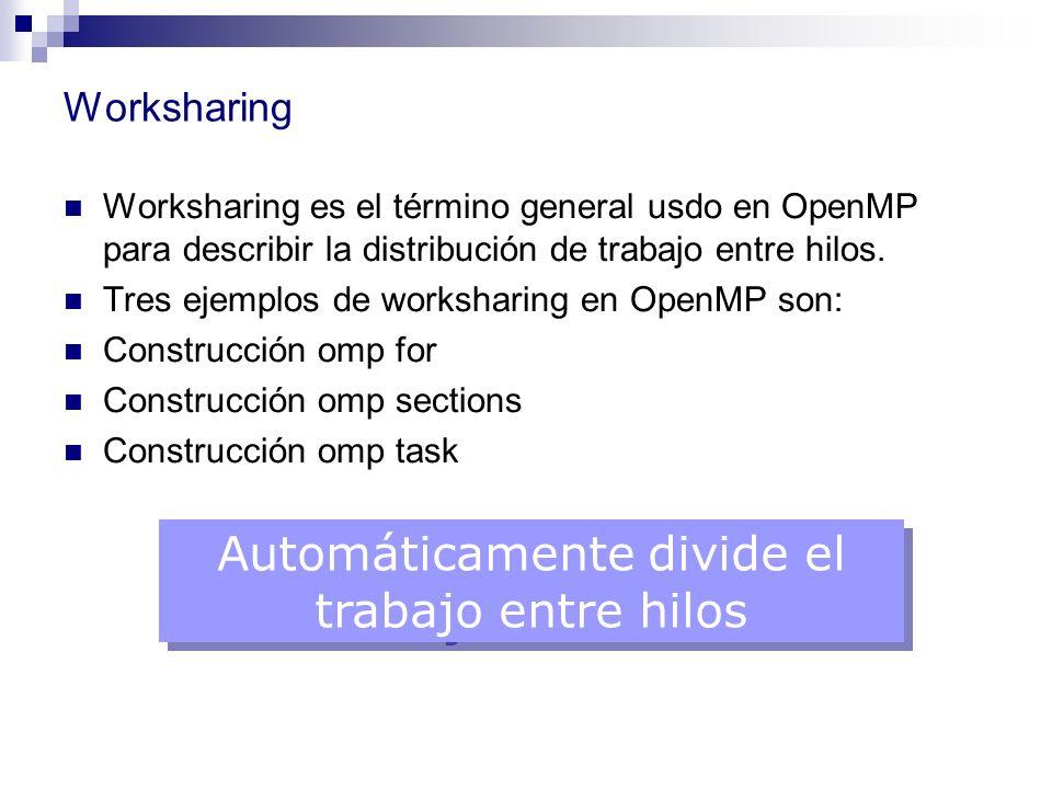 Worksharing Worksharing es el término general usdo en OpenMP para describir la distribución de trabajo entre hilos. Tres ejemplos de worksharing en Op