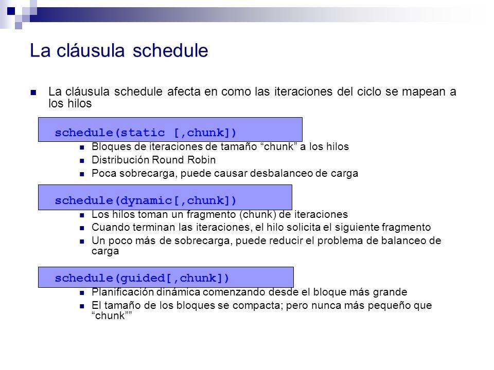 La cláusula schedule La cláusula schedule afecta en como las iteraciones del ciclo se mapean a los hilos schedule(static [,chunk]) Bloques de iteracio