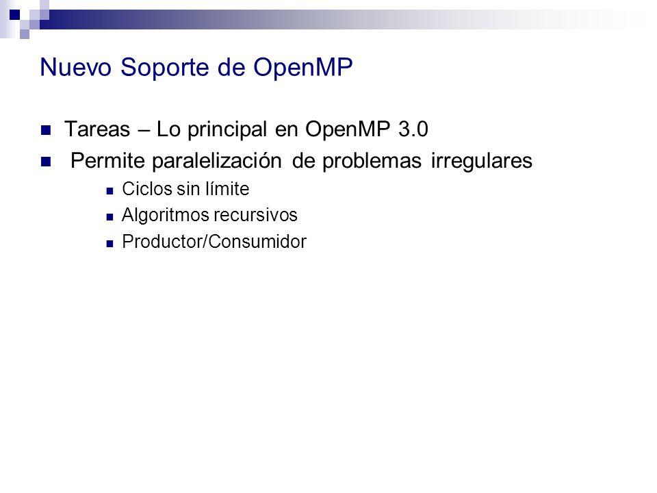 Nuevo Soporte de OpenMP Tareas – Lo principal en OpenMP 3.0 Permite paralelización de problemas irregulares Ciclos sin límite Algoritmos recursivos Pr