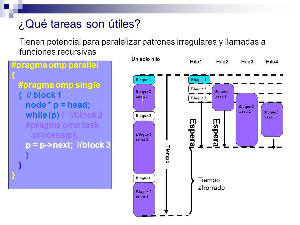 ¿Qué tareas son útiles? #pragma omp parallel { #pragma omp single { // block 1 node * p = head; while (p) { //block 2 #pragma omp task process(p); p =