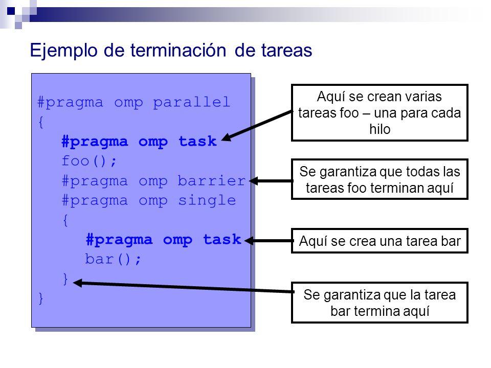 Ejemplo de terminación de tareas #pragma omp parallel { #pragma omp task foo(); #pragma omp barrier #pragma omp single { #pragma omp task bar(); } #pr
