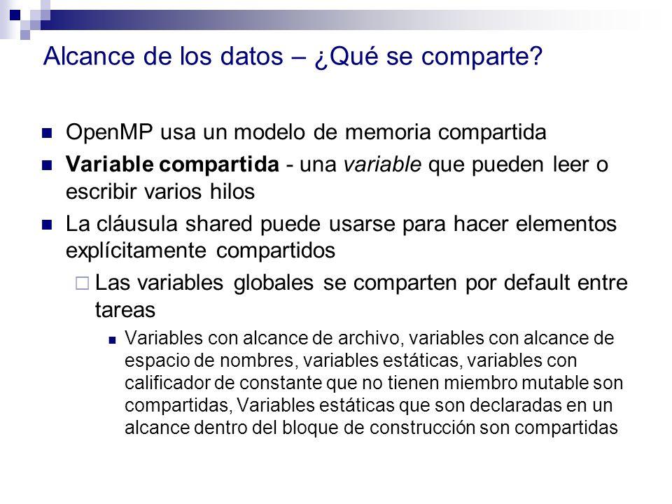 Alcance de los datos – ¿Qué se comparte? OpenMP usa un modelo de memoria compartida Variable compartida - una variable que pueden leer o escribir vari