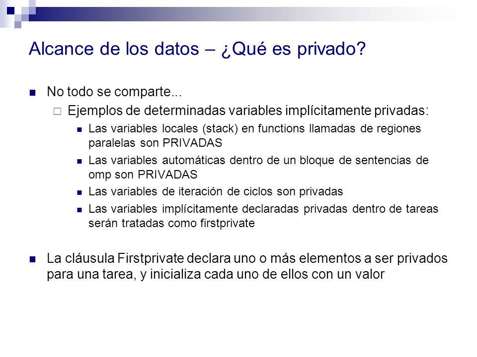 Alcance de los datos – ¿Qué es privado? No todo se comparte... Ejemplos de determinadas variables implícitamente privadas: Las variables locales (stac