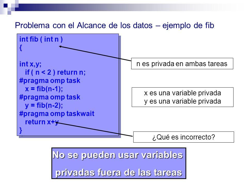 int fib ( int n ) { int x,y; if ( n < 2 ) return n; #pragma omp task x = fib(n-1); #pragma omp task y = fib(n-2); #pragma omp taskwait return x+y } in