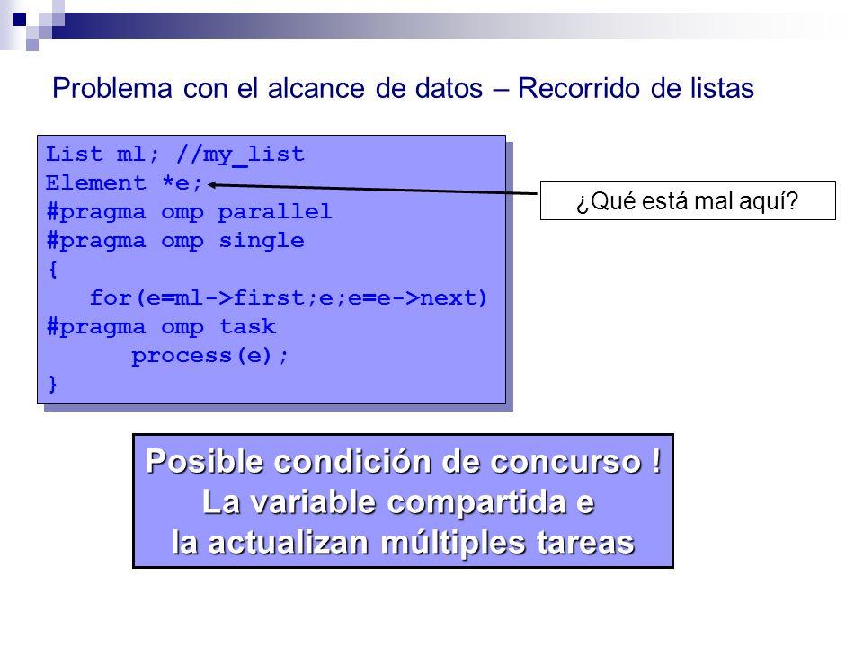 List ml; //my_list Element *e; #pragma omp parallel #pragma omp single { for(e=ml->first;e;e=e->next) #pragma omp task process(e); } List ml; //my_lis
