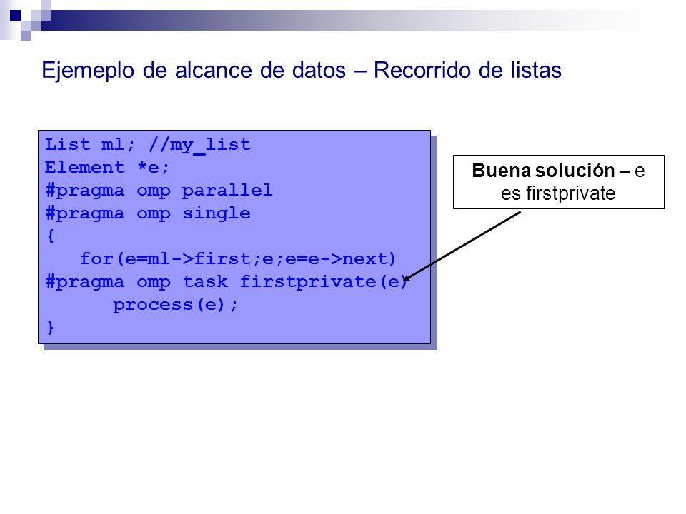 List ml; //my_list Element *e; #pragma omp parallel #pragma omp single { for(e=ml->first;e;e=e->next) #pragma omp task firstprivate(e) process(e); } L