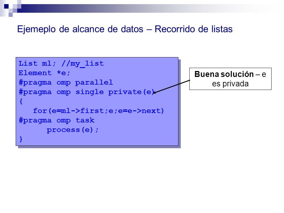 List ml; //my_list Element *e; #pragma omp parallel #pragma omp single private(e) { for(e=ml->first;e;e=e->next) #pragma omp task process(e); } List m