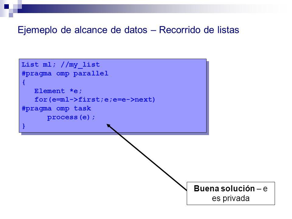List ml; //my_list #pragma omp parallel { Element *e; for(e=ml->first;e;e=e->next) #pragma omp task process(e); } List ml; //my_list #pragma omp paral