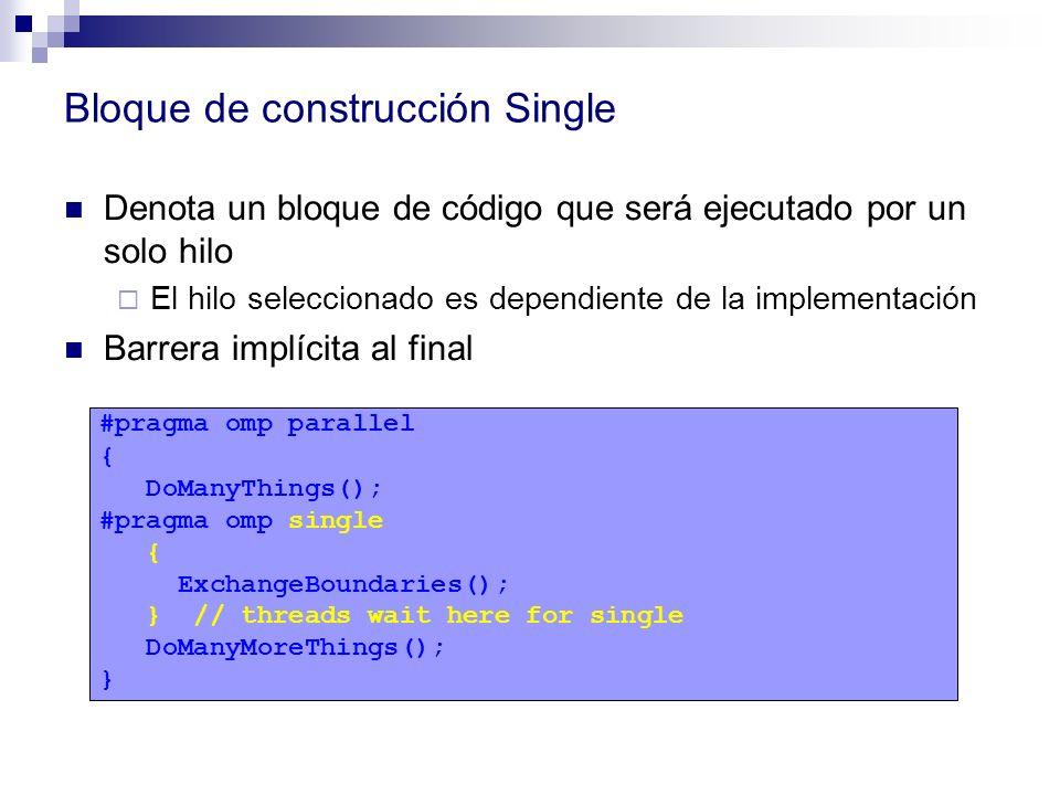 Bloque de construcción Single Denota un bloque de código que será ejecutado por un solo hilo El hilo seleccionado es dependiente de la implementación