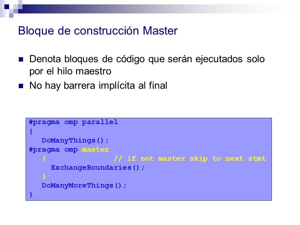 Bloque de construcción Master Denota bloques de código que serán ejecutados solo por el hilo maestro No hay barrera implícita al final #pragma omp par
