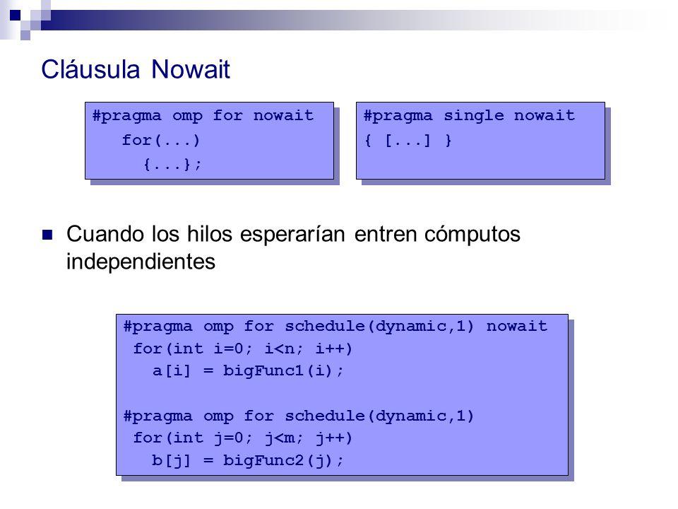 Cláusula Nowait Cuando los hilos esperarían entren cómputos independientes #pragma single nowait { [...] } #pragma single nowait { [...] } #pragma omp