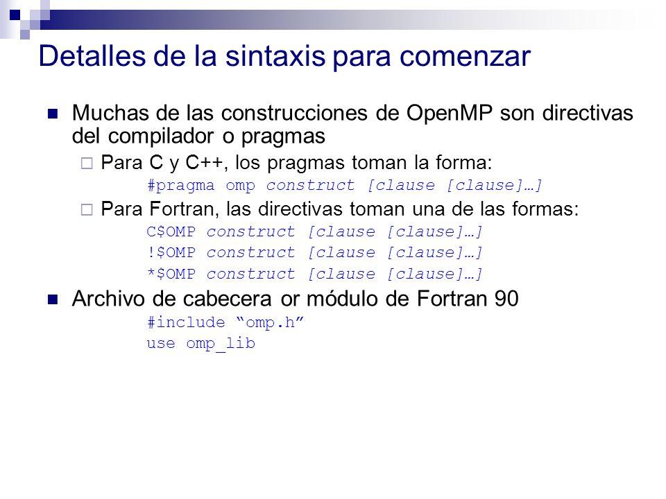 Detalles de la sintaxis para comenzar Muchas de las construcciones de OpenMP son directivas del compilador o pragmas Para C y C++, los pragmas toman l