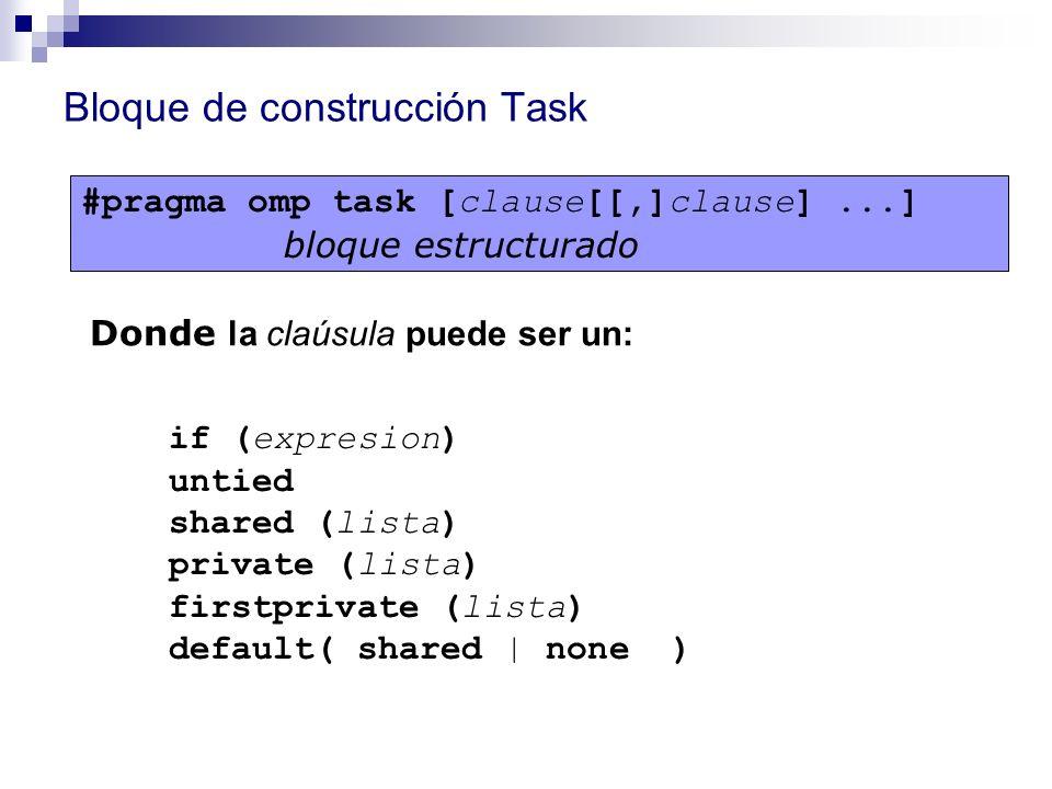 Bloque de construcción Task #pragma omp task [clause[[,]clause]...] bloque estructurado if (expresion) untied shared (lista) private (lista) firstpriv