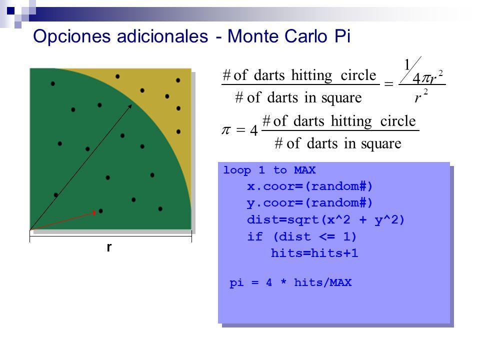 Opciones adicionales - Monte Carlo Pi loop 1 to MAX x.coor=(random#) y.coor=(random#) dist=sqrt(x^2 + y^2) if (dist <= 1) hits=hits+1 pi = 4 * hits/MA