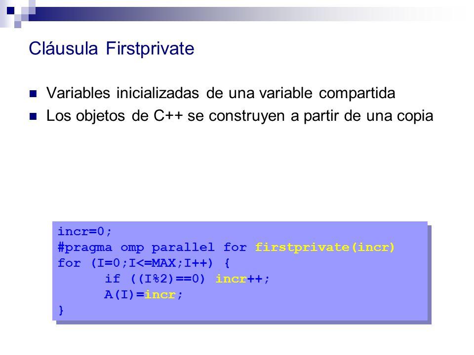 Cláusula Firstprivate Variables inicializadas de una variable compartida Los objetos de C++ se construyen a partir de una copia incr=0; #pragma omp pa