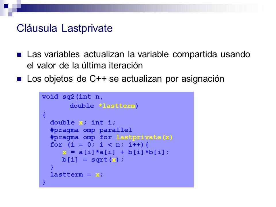 Cláusula Lastprivate Las variables actualizan la variable compartida usando el valor de la última iteración Los objetos de C++ se actualizan por asign