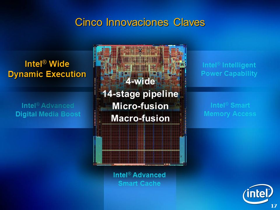 17 Intel ® Advanced Digital Media Boost Intel ® Wide Dynamic Execution Intel ® Smart Memory Access Intel ® Advanced Smart Cache Cinco Innovaciones Claves 4-wide 14-stage pipeline Micro-fusion Macro-fusion Intel ® Intelligent Power Capability