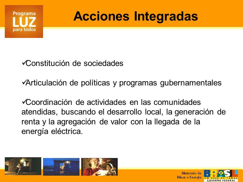 Constitución de sociedades Articulación de políticas y programas gubernamentales Coordinación de actividades en las comunidades atendidas, buscando el