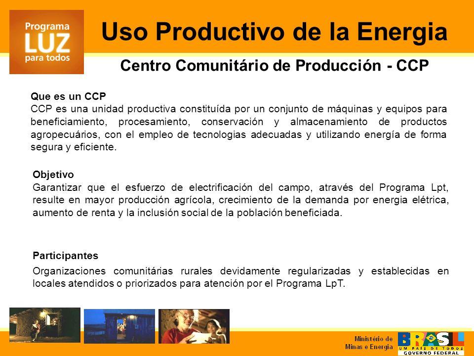 Objetivo Garantizar que el esfuerzo de electrificación del campo, através del Programa Lpt, resulte en mayor producción agrícola, crecimiento de la demanda por energia elétrica, aumento de renta y la inclusión social de la población beneficiada.