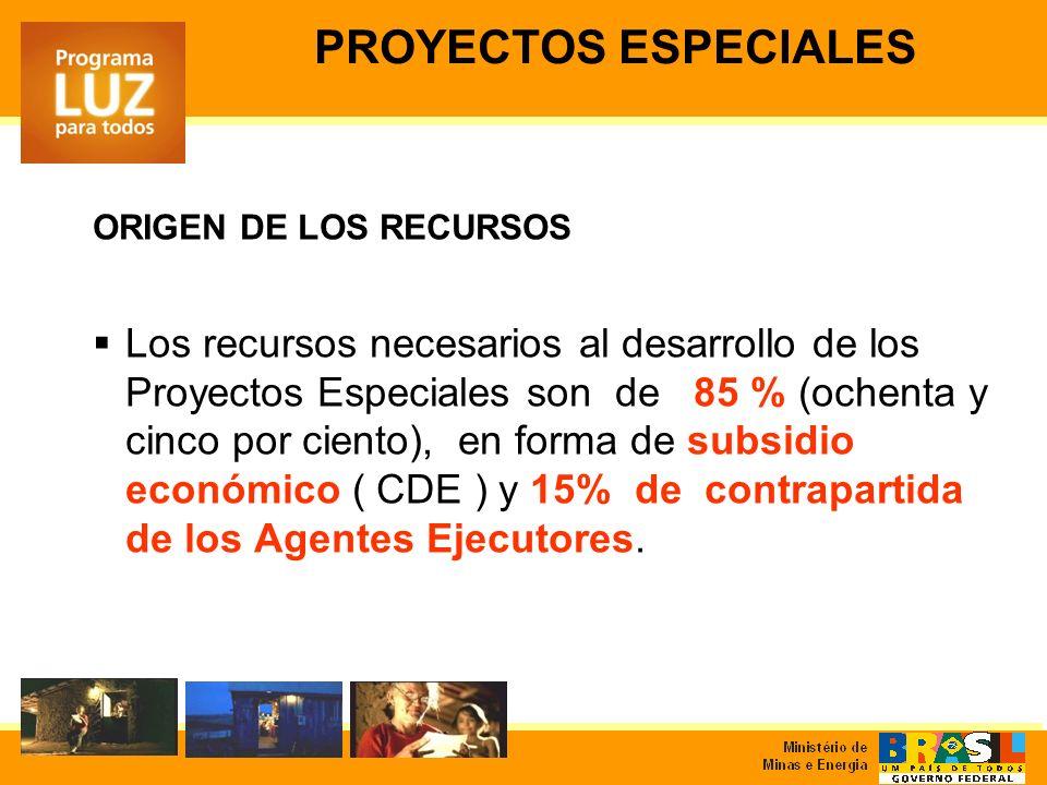 ORIGEN DE LOS RECURSOS Los recursos necesarios al desarrollo de los Proyectos Especiales son de 85 % (ochenta y cinco por ciento), en forma de subsidio económico ( CDE ) y 15% de contrapartida de los Agentes Ejecutores.