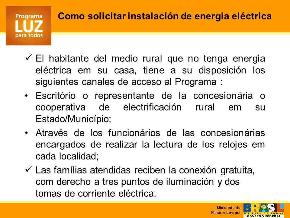 Como solicitar instalación de energia eléctrica El habitante del medio rural que no tenga energia eléctrica em su casa, tiene a su disposición los sig