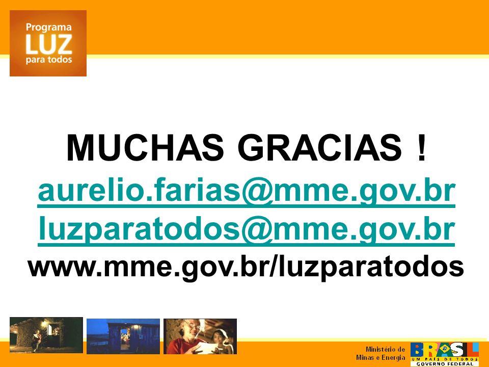 MUCHAS GRACIAS ! aurelio.farias@mme.gov.br luzparatodos@mme.gov.br www.mme.gov.br/luzparatodos