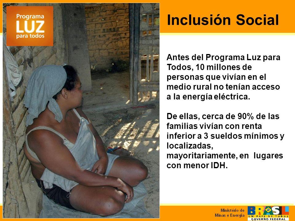 Inclusión Social Antes del Programa Luz para Todos, 10 millones de personas que vivían en el medio rural no tenían acceso a la energía eléctrica.