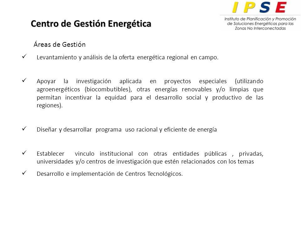Levantamiento y análisis de la oferta energética regional en campo.
