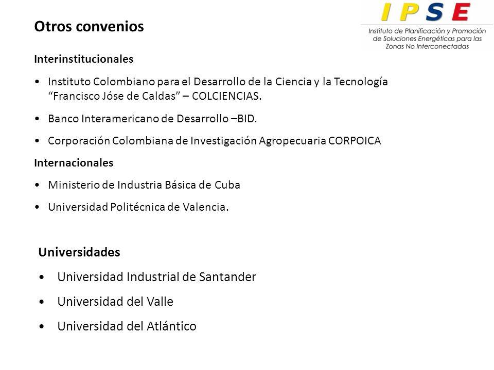 Otros convenios Universidades Universidad Industrial de Santander Universidad del Valle Universidad del Atlántico Interinstitucionales Instituto Colombiano para el Desarrollo de la Ciencia y la Tecnología Francisco Jóse de Caldas – COLCIENCIAS.