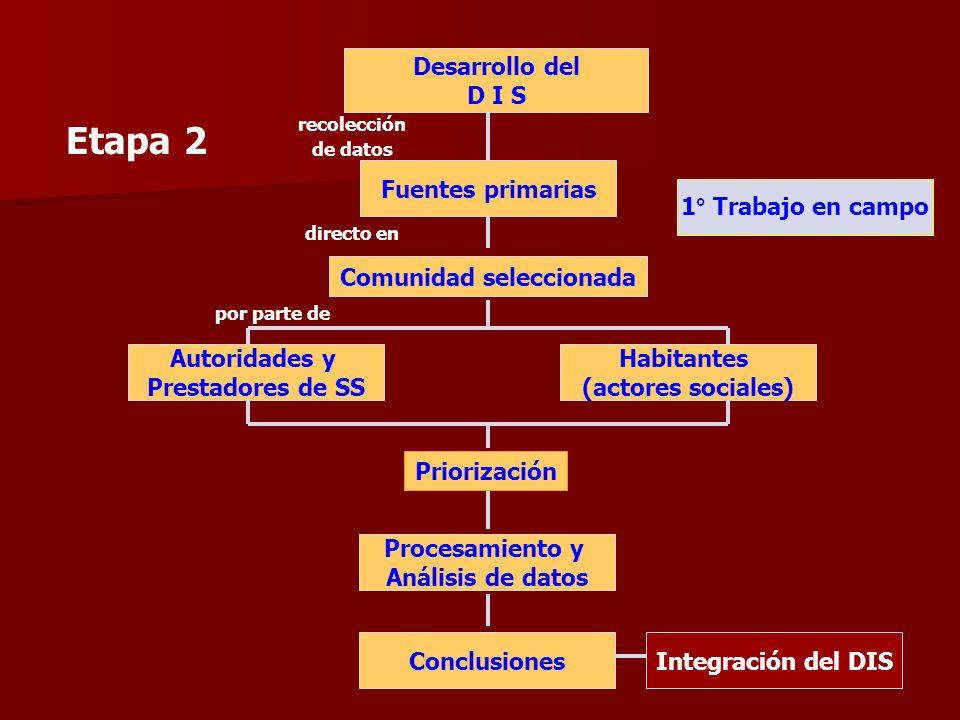 Etapa 2 Desarrollo del D I S recolección de datos Fuentes primarias Comunidad seleccionada Autoridades y Prestadores de SS Habitantes (actores sociale