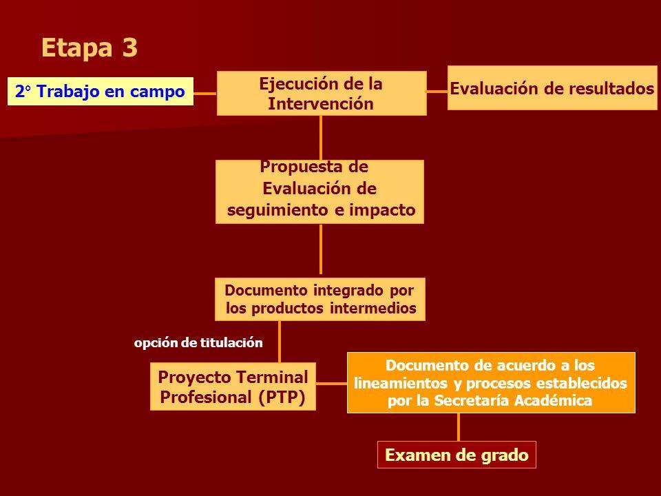 Etapa 3 Ejecución de la Intervención opción de titulación Propuesta de Evaluación de seguimiento e impacto Proyecto Terminal Profesional (PTP) Documen