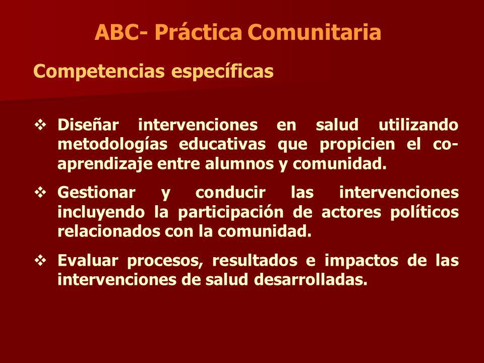 ABC- Práctica Comunitaria Competencias específicas Diseñar intervenciones en salud utilizando metodologías educativas que propicien el co- aprendizaje