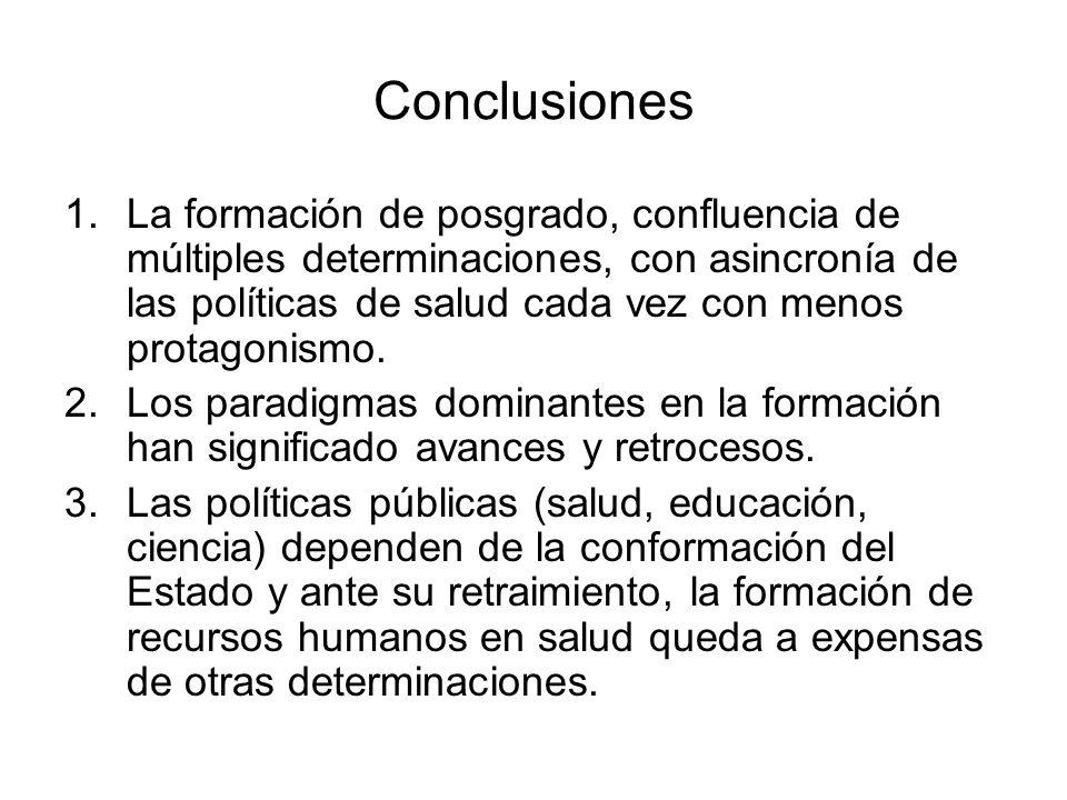 Conclusiones 1.La formación de posgrado, confluencia de múltiples determinaciones, con asincronía de las políticas de salud cada vez con menos protago